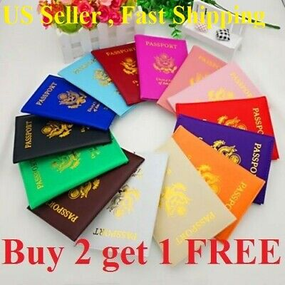 Leather Passport Holder Cover Wallet Travel Case Emblem Gold New Usa