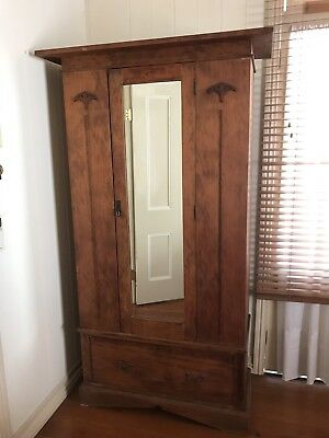 Beautiful Antique Pine Wardrobe - Solid Timber