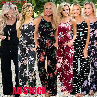 AU Boho Womens Floral Holiday Long Playsuits Dress Beach Jumpsuit 6-20 Plus Size