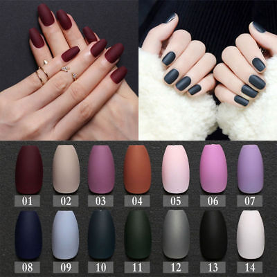 24Pcs Matte Full Cover Hand Painted False Nails Tips With Glue UV Gel 10 Colors