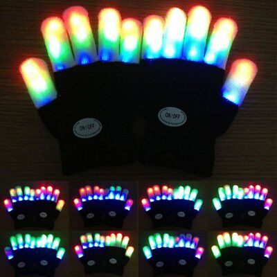 Halloween Party Baby Kids Light Up Xmas Dance Rave LED Colorful Glowing Gloves