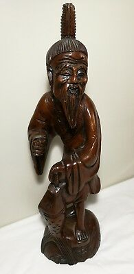 Antique Qing Dynasty boxwood carved big fishman figure H47cm