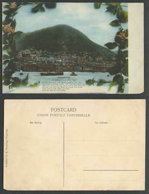 Hong Kong Greetings from East China Old Postcard Harbour Ships Boats Rose Flower