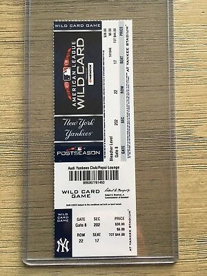 2018 MLB New York Yankees vs Oakland A's Ticket Stub 10/3 Playoff Wild Card Game