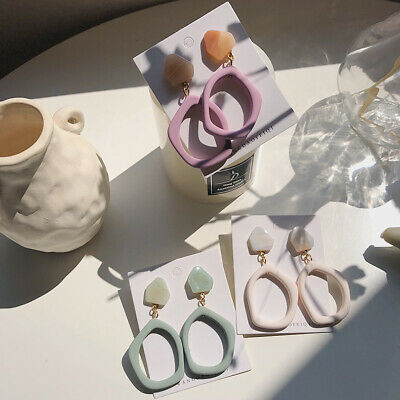 Fashion Women Scrub Acrylic Resin Geometric Statement Drop Earring Jewelry Gifts