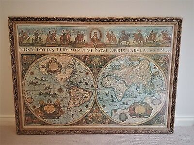 Antique Gold Leaf frame,1600s Repro World Map
