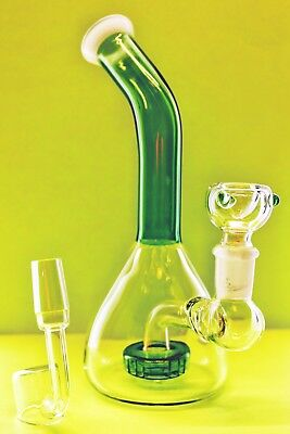 "Collectible Tobacco Glass Water Pipe Bong Bubbler Hookah Rig 8"" Banger Bowl D2"