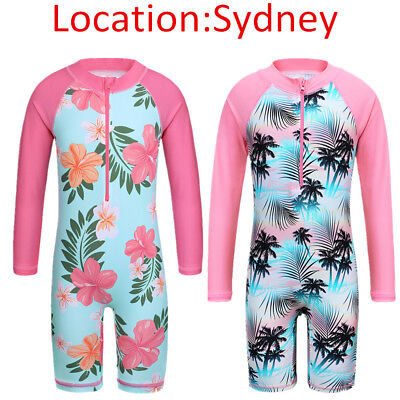 4-11Y Kid Long Sleeve Swimmers Girls Swimsuits Shorts One PC UV50+ Pool Bathing