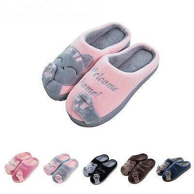 JACKSHIBO Womens Winter Cute Cat Indoor Slippers Soft Home Plush House Shoes