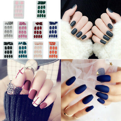 24Pcs/Set Matte False Nails Tips Frosted Full Cover Fake Nail Tools With Glue
