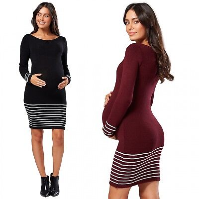 Chelsea Clark Women's Stripe Knitted Maternity Dress Long Sleeves 050p