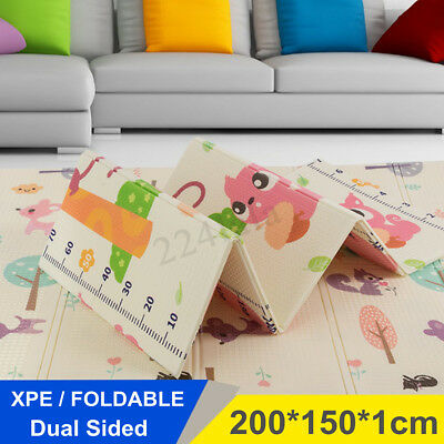 200x150cm 2-Side XPE Foldable Baby Floor Play Mat Crawl Creeping Alphabet Animal