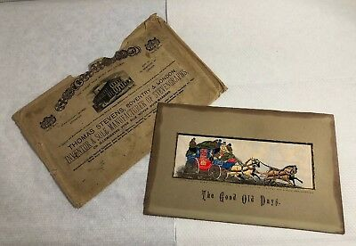 Antique Stevengraph Woven Silk Picture The Good Old Days Mail Coach Envelope