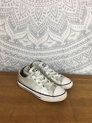 Kid's Chuck Taylor All Star Glitter CONVERSE, Silver, Low Top, UK Size 2