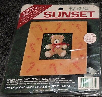 Sunset Teddy Bear Felt Wood Frame Picture Panel Sewing Kit Applique Pattern Card