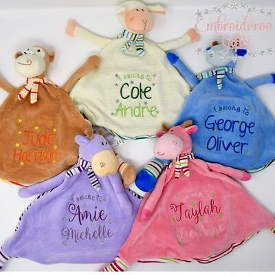 Unique Personalised Baby Comforter Snuggle Blanket Embroidered Cubbie Taggy Gift