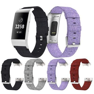 Replacement Metal/Canvas Strap for Fitbit Charge 3 Smart Bracelet Watch Band Lot