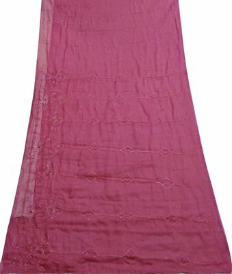 Antique Vintage Sari Indian Casual Wear Silk Blend Embroidered Saree 5 Yd Si4739