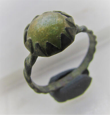 Scarce Byzantine Era Late Period Bronze Twisted Ring With Glass Insert