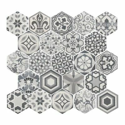 Hexagon Matt Harmony B & W 17.5cm x 20cm Wall & Floor Tile