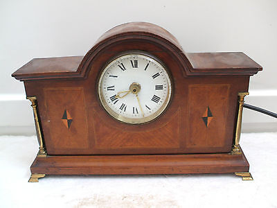 "NUFA Mahogany Inlaid Case Electric Movement Mantle Clock Brass Columns 12""L 8""H"