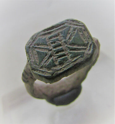 Finest Early Medieval Bronze Decorated Signet Ring.
