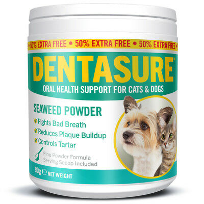 DENTASURE Plaque Off Powder For Dogs Cats Fights Bad Breath Ascophyllum Nodosum