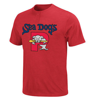 Boston Red Sox MLB Affiliate : Portland Sea Dogs Adult MiLB 2 Button T shirt