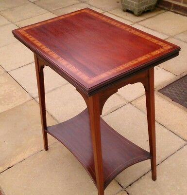 Antique Edwardian Mahogany Inlaid Folding Games Card Table c1900