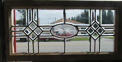~ Antique Full Beveled Etched Leaded Glass Transom Window ~ 35 X 17 ~ Salvage