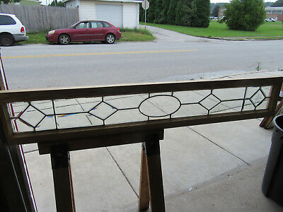 ~ ANTIQUE FULL BEVELED ETCHED LEADED GLASS TRANSOM WINDOW ~ 69 x 12 ~ SALVAGE