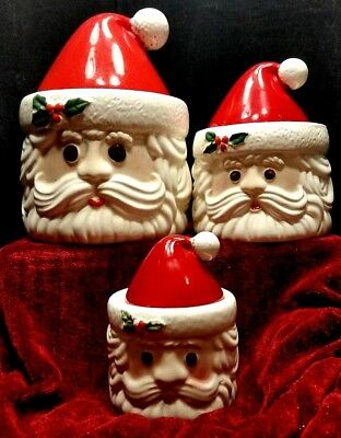 Santa Ceramic Canister Set Hand Painted Brazil Christmas Holiday Weiss set of 3