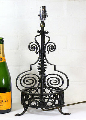 A Large Antique Wrought Iron Table Lamp with Scroll Work Detailing