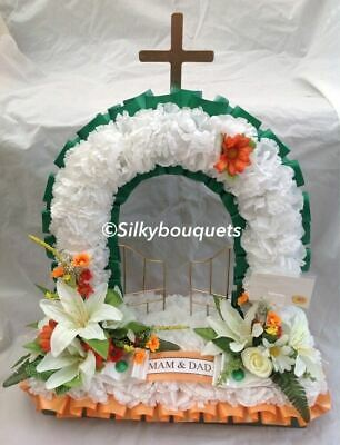 Gates of Heaven Silk Funeral Flower Artificial Wreath Tribute Irish Memorial