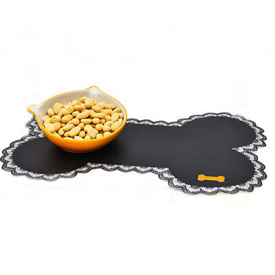 Dog Bowl Mat Pad Bone Shape Food Container Water Bottle Pet Feeding Placemat USA