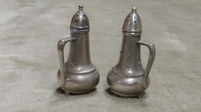 Beautiful Pair of Antique Pewter Salt and Pepper Shakers 900T