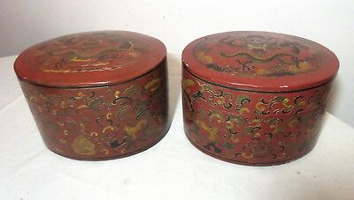 2 large handmade vintage Chinese Shanxi red lacquered dragon wood dresser box