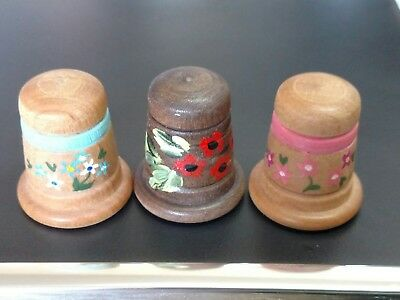 Set of 3 Hand Painted multi colored WOODEN THIMBLES - Floral Patterns