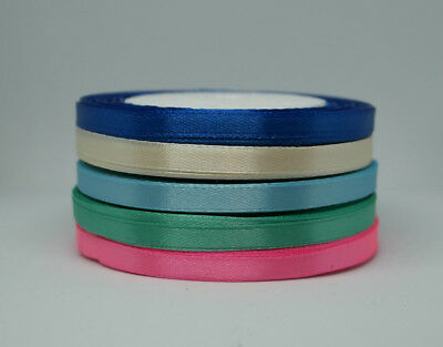 Set of 5 x 25 Metres Double Sided Satin Ribbon Roll 6 mm - 25 mm