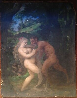 Fine 18th century Fauna and bacchante Mythology Rare Oil painting To restore