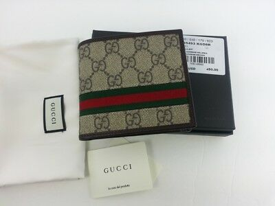 611d6a2a36d Authentic Gucci Mens GG Supreme Web Bifold Canvas Wallet w  Coin Pocket