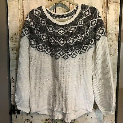 Justice Girls Sweater Size 20 White Gray Bling Medium Knit Soft BNWT