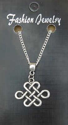 """18"""" or 24 Inch Necklace & Chinese Knot Charm Pendant Lucky China Gift Souvenir"""
