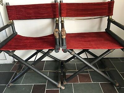 Vintage Director Folding Chairs Wood Brass/Rattan 1950's - Mcgurie (likely) ~