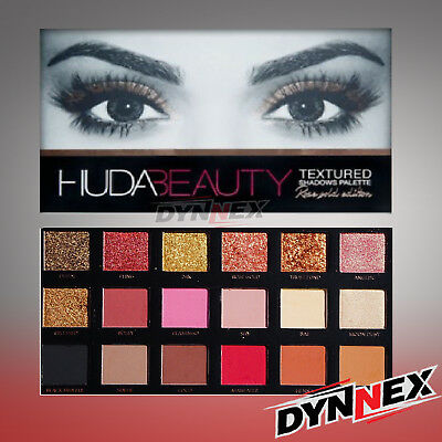 New HUDA BEAUTY Rose Gold Edition Textured Eye Shadow Palette 18 Colours UK SALE