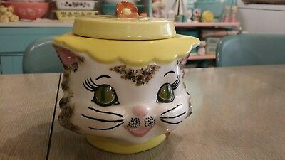 "Vintage Ceramic Cat Kitten Cookie Jar ""Like Miss Priss Style"""