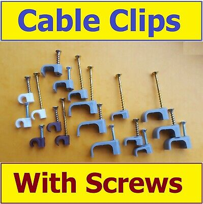 Cable Clips with Screws Round Flat Twin Earth Coaxial Nail In Wire T&E ManySizes