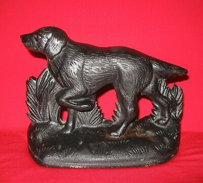 Antique Cast Iron Pointer Spaniel Hunting Dog Door Stop or Book End