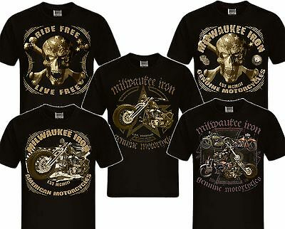 Biker T-Shirt Milwaukee Iron Chopper Bobber Teschio Moto Americano