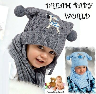 BABY BOYS KIDS KNITTED warm winter set hat with scarf size 6 - 18 months NEW